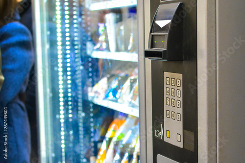 Obraz food vending machine close-up. quick sale out of the store. fast food. catering in public places. - fototapety do salonu
