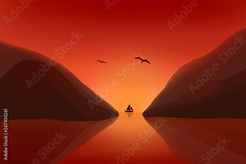 Garden Poster Brown sailboat in the tropical sunset , ocean and mountain, seagull flying in glowing sky.