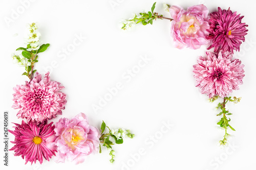 Fototapety, obrazy: Beautiful pink flowers on white background.