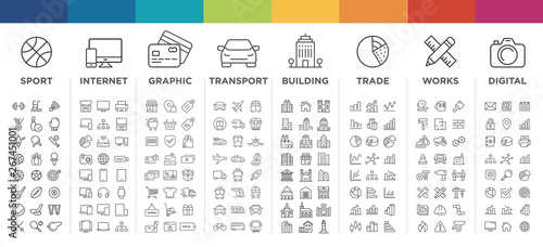 Fotomural vector thin line icons