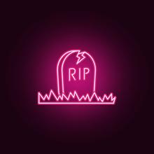 Halloween Grave Neon Icon. Elements Of Halloween Set. Simple Icon For Websites, Web Design, Mobile App, Info Graphics