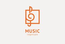 Vector Illustration, Graphic Design Treble Clef Logotype. Abstract Music Icon Vector Design. Sound Recording Studio, Night Party. School Of Music, Disco, Vocal Course, Composer, Singer Vector Logo.