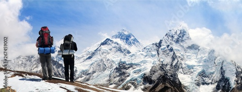 Fototapeta Mount Everest with hikers Nepal Himalayas mountains