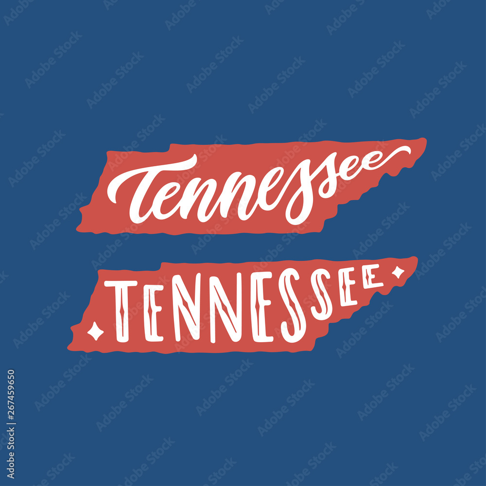 Fototapeta Tennessee. Hand drawn USA state name inside state silhouette. Vector illustration.