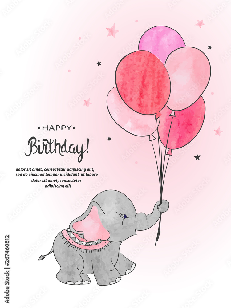 Fototapety, obrazy: Cute elephant with balloons watercolor vector illustration. Happy Birthday card design.