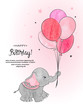 Cute elephant with balloons watercolor vector illustration. Happy Birthday card design.