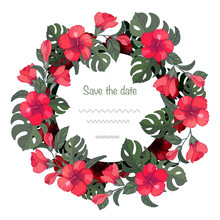 Greeting Card Template With Hibiscus And Monstera. Can Be Used As Wedding Invitation, Postcard, For Birthday And Other Holidays, As Summer Exotic Backdrop