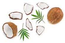 Coconut With Leaves Isolated O...