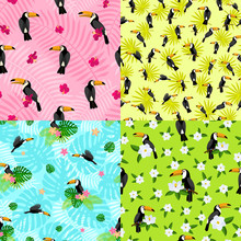 Toucan Pattern Set. Flat Illustration Of Toucan Vector Pattern Set For Web Design