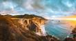 canvas print picture - Bixby Bridge along Highway 1 at sunset, Big Sur, California, USA