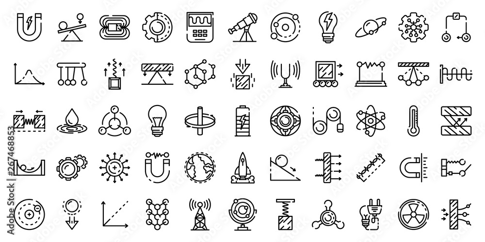 Fototapety, obrazy: Physics icons set. Outline set of physics vector icons for web design isolated on white background