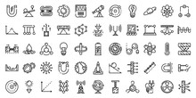 Physics Icons Set. Outline Set...