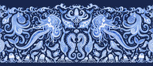 Seamless Border Pattern Of Blue Hand Painted Fairy Tale Sea Animals And Mermaid. Watercolor Fantasy Fish, Octopus, Sea Shells, Bubbles On A Dark Indigo Background. Batik Fringe, Textile Print