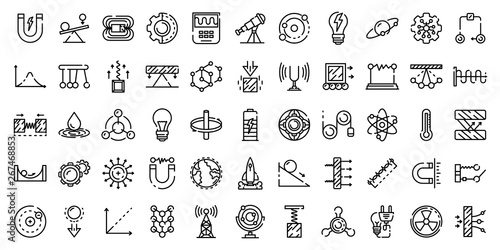 Valokuvatapetti Physics icons set