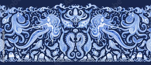 Fotografija  Seamless border pattern of blue hand painted fairy tale sea animals and mermaid