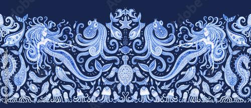Fotografija  Seamless border pattern of blue hand painted fairy tale sea animals and mermaid