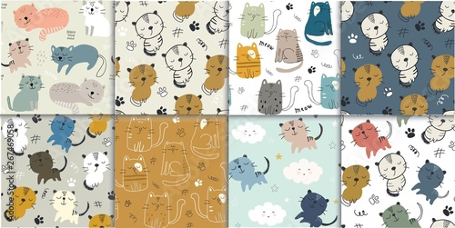 obraz lub plakat set of seamless pattern with cute cats. childish vector illustration for textile,fabric