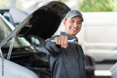 plakat Van service mechanic