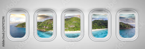 Seychelles at sunset as seen through five aircraft windows. Holiday and travel concept