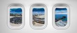 Santa Monica as seen through three aircraft windows. Holiday and travel concept - 267474281