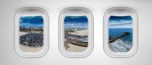 Santa Monica As Seen Through Three Aircraft Windows. Holiday And Travel Concept
