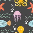Seamless cartoon pattern with sea inhabitants - octopus, fish, starfish, jellyfish and waves. Vector