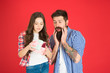 Leinwanddruck Bild - Celebrate fathers day. Family values concept. Friendly relations. Father hipster and his daughter. Gift surprise. Gift for her dad. Man bearded father and cute little girl daughter on red background