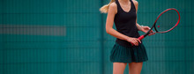 Young Fit Woman Play Tennis Ou...