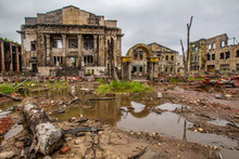 The Vanished City. Ruins Of Houses. Broken Houses. Uninhabited Ruins After The Earthquake. An Abandoned World. Dead City. Natural Disaster.