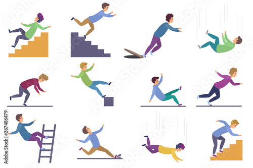 Obraz Set of injuring people falling down the stairs and over the edge, ladder, drop from the altitude, wet floor falling, stumbling on the sewer hall, tripping on stairs isolated on white background. - fototapety do salonu