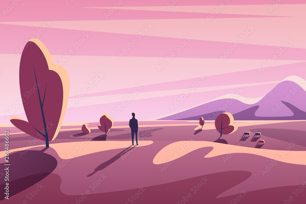 Fototapety, obrazy: Alone young man looking on sunset landscape with mountains, trees, animals. Fantasy minimalistic cartoon flat vector illustration.