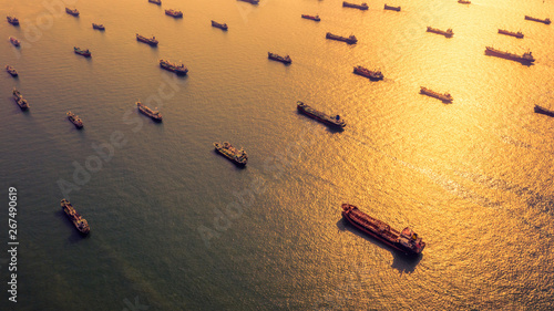 Valokuva  Aerial view oil and gas chemical tanker in open sea, Refinery Industry cargo ship