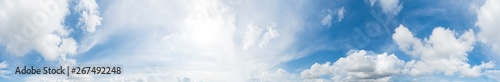 Foto op Plexiglas Hemel Panorama of clear blue sky with white cloud background. Clearing day and Good weather in the morning.