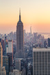 New York City Skyline with Urban Skyscrapers at Sunset, USA