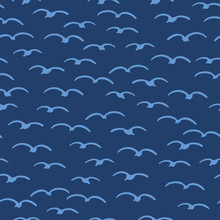Cute Seagulls Flying In Summer Sky. Marine Animal Bird Seamless Vector Background. Hand Drawn Sealife Tile. All Over Print Kids Textiles. Maritime Fashion All Over Prints, Classy Nautical Home Decor.