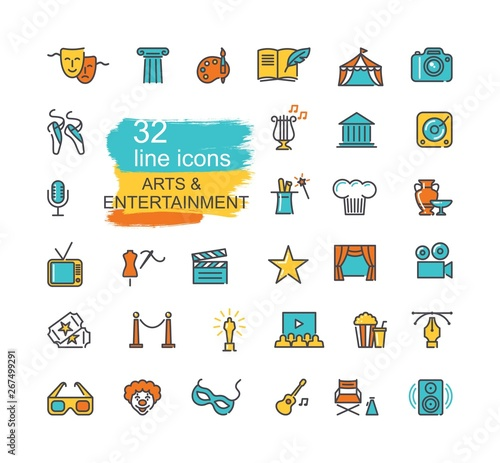 Fototapeta Arts and Entertainment icon set. Collection of vector icons obraz