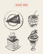 Set Dessert Design Elements Menu Hand Drawn Vector