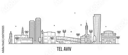 Fotografia Tel Aviv skyline Israel buildings vector linear