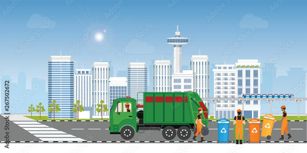 Fototapety, obrazy: City waste recycling concept with garbage truck and garbage collector on city view background.