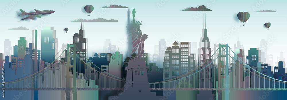 Fototapety, obrazy: Travel America New York City Liberty statue landmark in Manhattan.