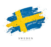Flag Of Sweden. Vector Illustration On White Background.