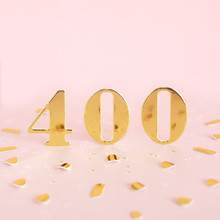 The Number 400 Is Gold Numbers On A Pink Background And Golden Confetti. Space For Text...