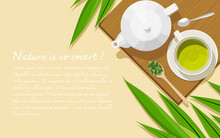 A White Porcelain Teapot, A White Cup With Pandan Tea, Dried And Fresh Leaves, And Teaspoons On A Wooden Board. Healthy Herbal Tea Concept. Top View. Flat Lay. Copy Space. Vector Illustration.