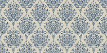 Vector Damask Seamless Pattern Background. Elegant Luxury Texture For Wallpapers, Backgrounds And Page Fill. Floral Ornament.