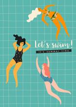 Vector Illustration Of Swimming Women. Design Element