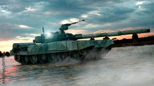 Heavy Military Tank in Batt...