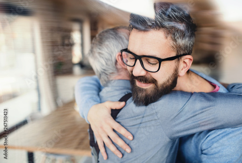 An adult hipster son and senior father indoors at home, hugging. - 267513423