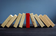 canvas print picture - Successful leadership in business concept. Red and white wooden blocks.