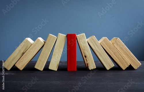 Successful leadership in business concept. Red and white wooden blocks.