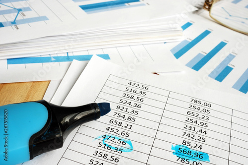 Papiers peints Pays d Asie Company financial auditing. Papers with graphs and marker.